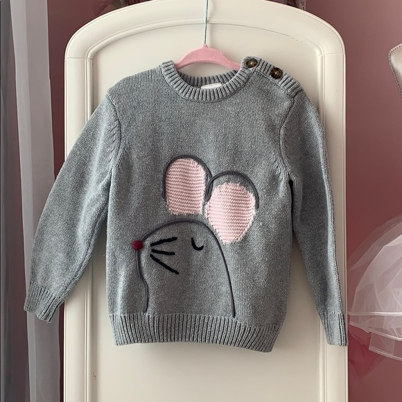 Hanna Andersson Knit Mouse Button Sweater